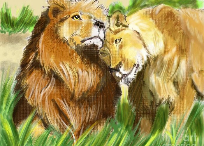 Lion Greeting Card featuring the digital art Love by Alfredo Lozano
