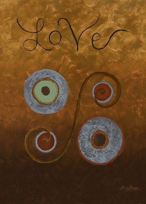 Modern Greeting Card featuring the painting Love by Amy Parker Evans
