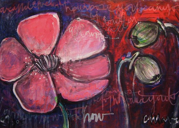 Purple Greeting Card featuring the painting Love And Live With Purpose Poppies by Laurie Maves ART