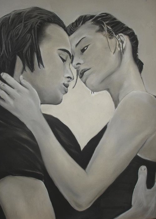 Charcoal Greeting Card featuring the drawing Love And Longing by Kerra Lindsey