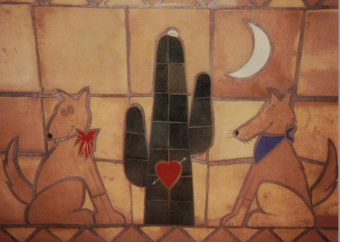 Tile Art Greeting Card featuring the relief Love At Frist Sight by Patrick Trotter