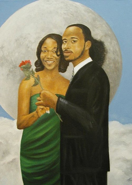 Portrait Greeting Card featuring the painting Love At Full Moon by Angelo Thomas