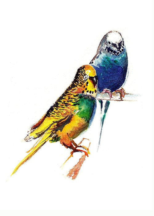 Nature Greeting Card featuring the painting Love Birds by Anil Nene