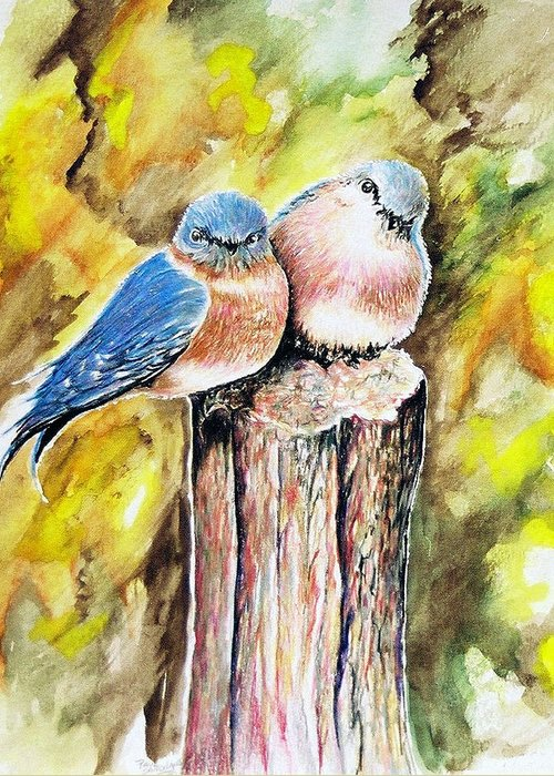 Love Birds Greeting Card featuring the painting Love Birds by Paul Sandilands