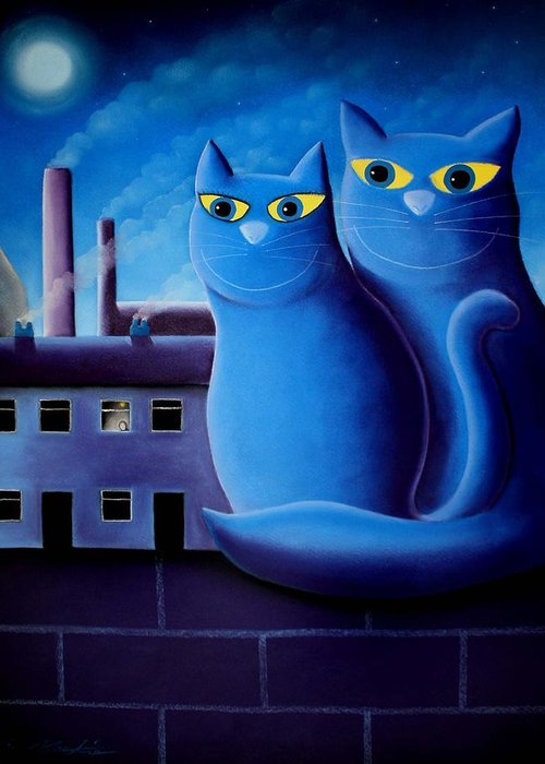 Cats Greeting Card featuring the pastel Love By The Pale Moonlight by Chris Mackie