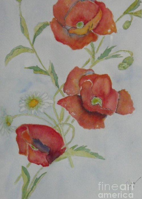 Flower Greeting Card featuring the painting Love by Djl Leclerc