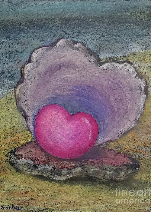 Heart Greeting Card featuring the pastel Love Endures All Things by Yoonhee Ko
