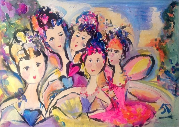 Fairies Greeting Card featuring the painting Love Fairies  by Judith Desrosiers