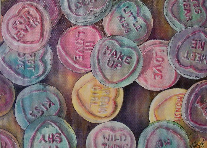 Candy Greeting Card featuring the painting Love Hearts by Victoria Heryet