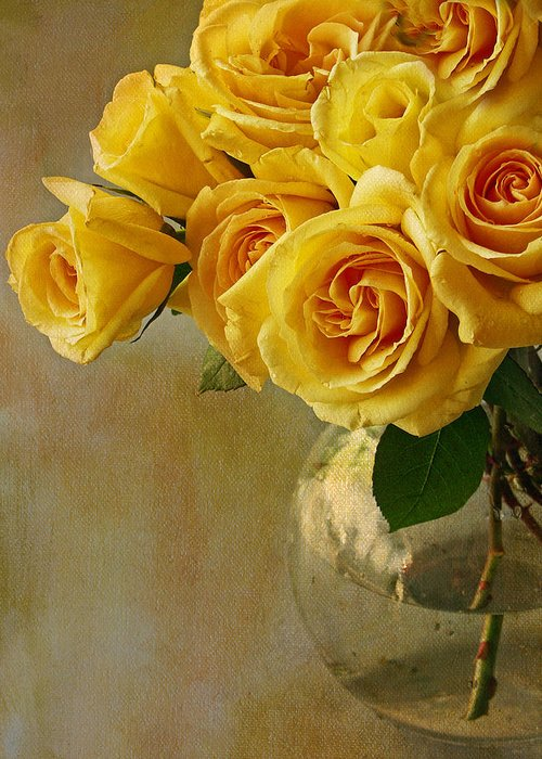 Roses Greeting Card featuring the photograph Love In A Vase by Rebecca Cozart