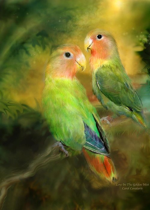 Lovebird Greeting Card featuring the mixed media Love In The Golden Mist by Carol Cavalaris