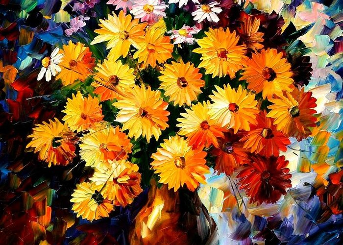 Flowers Greeting Card featuring the painting Love Irradiation by Leonid Afremov