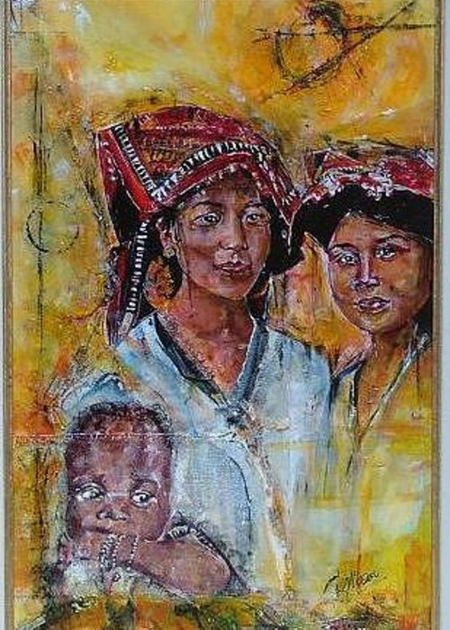 Ethnic Greeting Card featuring the painting Love Is - 1 by Lynn Gray