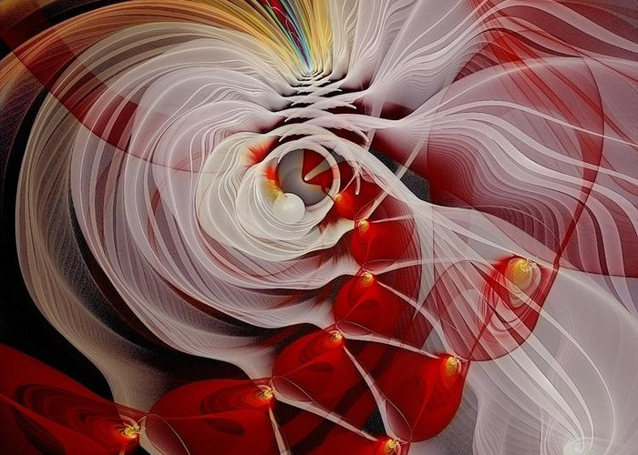 Fractal Greeting Card featuring the digital art Love Is Like A Fire by Gayle Odsather