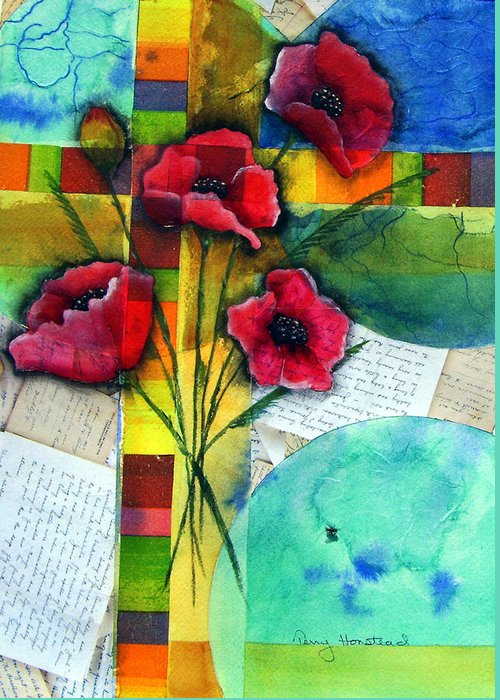 Poppies Abstract Red Collage Papers Acrylic Watercolor Greeting Card featuring the painting Love Letters by Terry Honstead