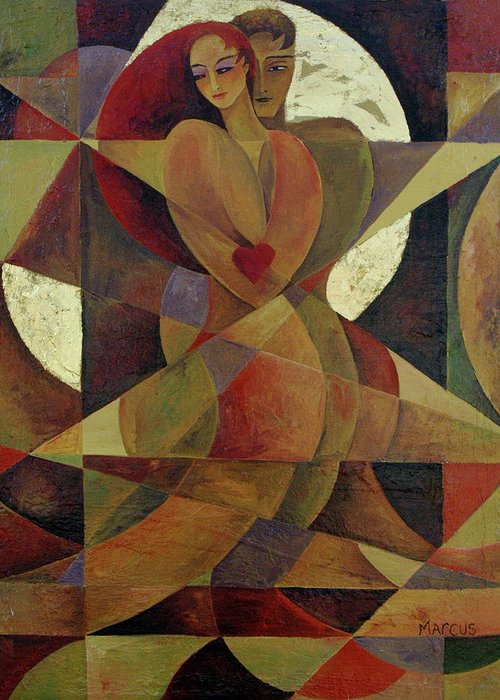 Love. Lovers Greeting Card featuring the painting Love Light 1 by Leslie Marcus