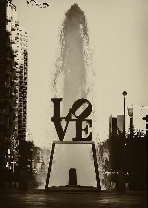 Love Park Greeting Card featuring the photograph Love Love Love by Bill Cannon