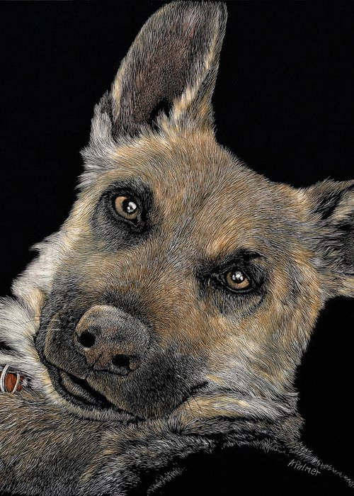 German Shepherd Dog Greeting Card featuring the drawing Love Me Forever? Kaya by Anne Palmer