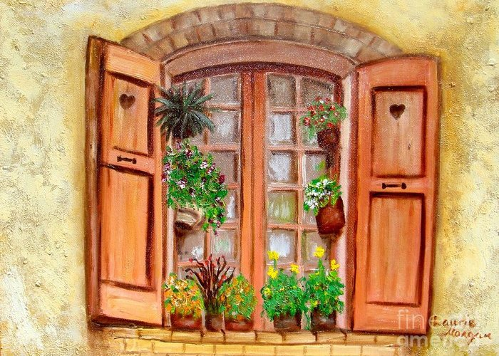 Windows Greeting Card featuring the painting Love Nest by Laurie Morgan