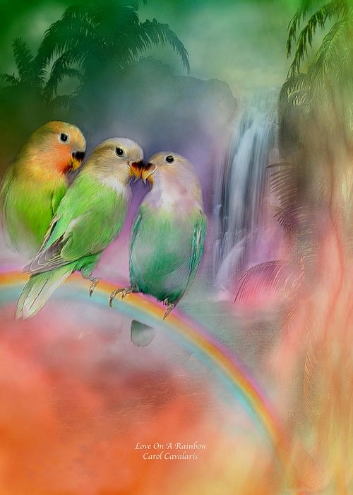 Lovebird Greeting Card featuring the mixed media Love On A Rainbow by Carol Cavalaris
