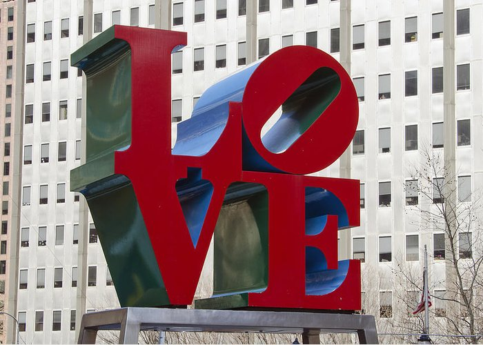 love Park Greeting Card featuring the photograph Love Park In Center City - Philadelphia by Brendan Reals