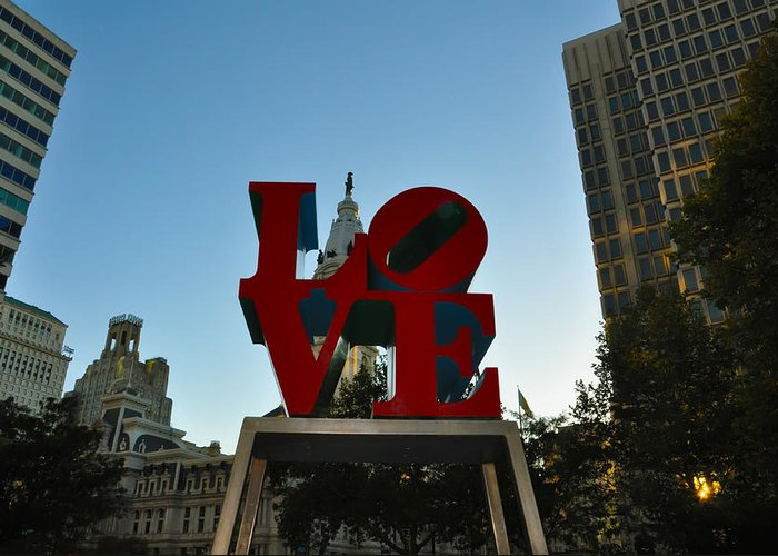 Love Park Greeting Card featuring the photograph Love Park In Philadelphia by Bill Cannon