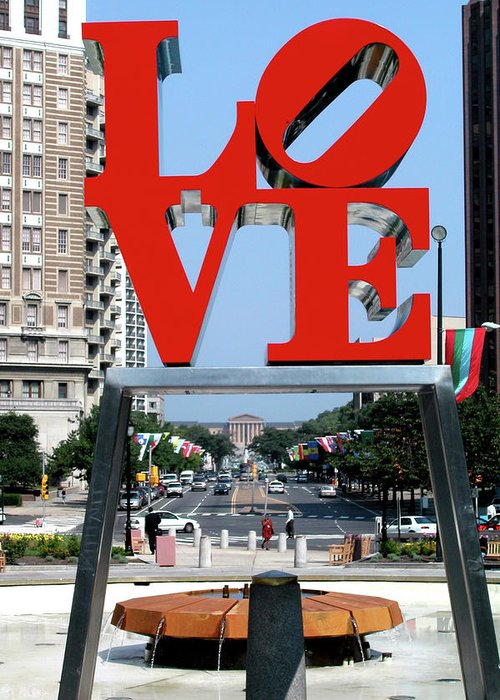 Red Greeting Card featuring the sculpture Love Sculpture In Philadelphia by Carl Purcell