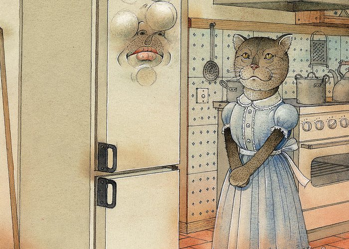 Cat Kitchen Love Greeting Card featuring the painting Love Story by Kestutis Kasparavicius