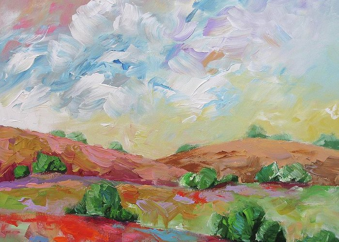 Original Greeting Card featuring the painting Love This Land by Linda Monfort