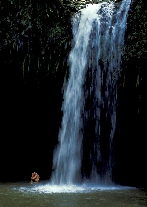 Man Greeting Card featuring the photograph Love Under A Waterfall by Carl Purcell