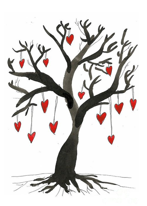Ink Greeting Card featuring the drawing Love Will Grow by Sarah Benning