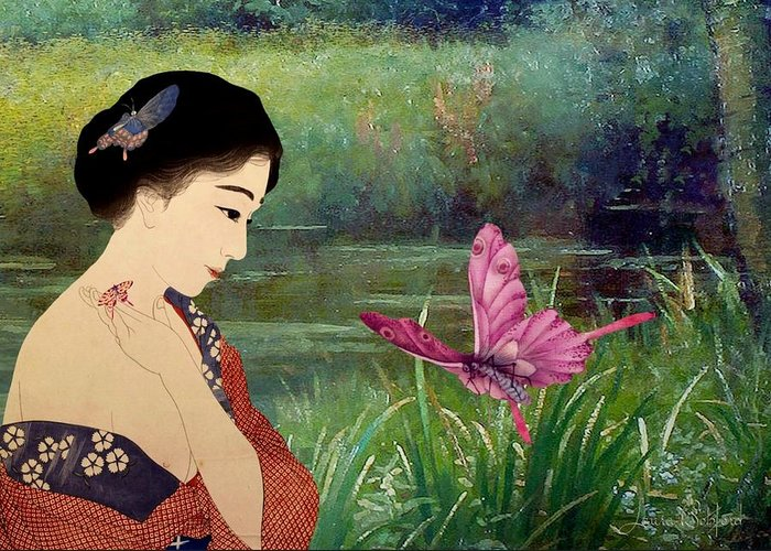 Japanese Greeting Card featuring the digital art Loved By Butterflies by Laura Botsford