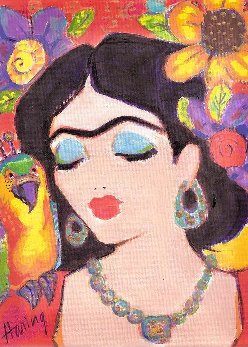 Frida Greeting Card featuring the painting Lovely Frida And Gold Parrot by Karen Haring