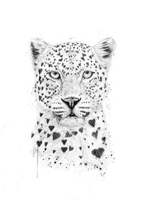 Black Leopard Greeting Cards