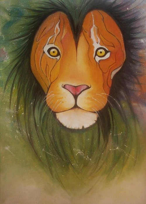 #lion #oilpainting #animal #colorful Greeting Card featuring the painting Lovelylion by Anne Sue