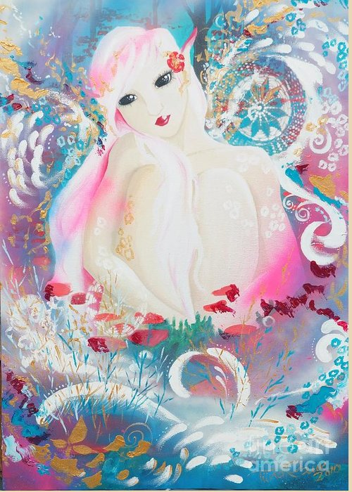 Fantasy Greeting Card featuring the painting Lovemist by Tiina Rauk