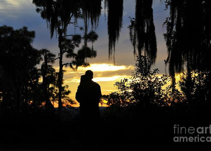 Landscape Greeting Card featuring the photograph Lover's At Sunset by David Lee Thompson