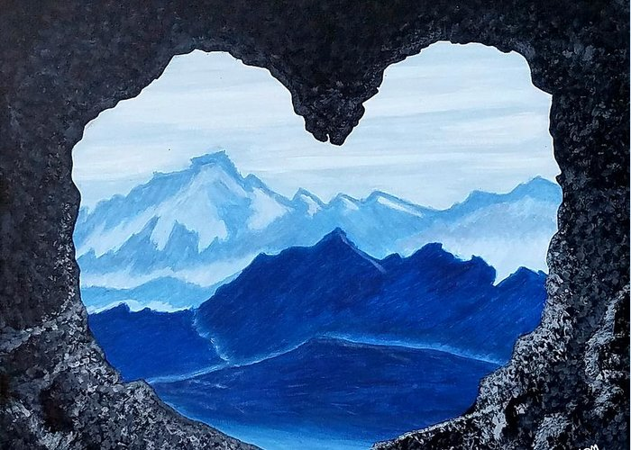 Cave Mountain Blue Monochromatic Love Landscape Lovers Heart Horizon Greeting Card featuring the painting Lovers Cave by Lakeesha Mitchell
