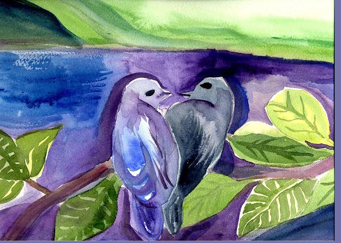 Birds Greeting Card featuring the painting Lovers by Janet Doggett