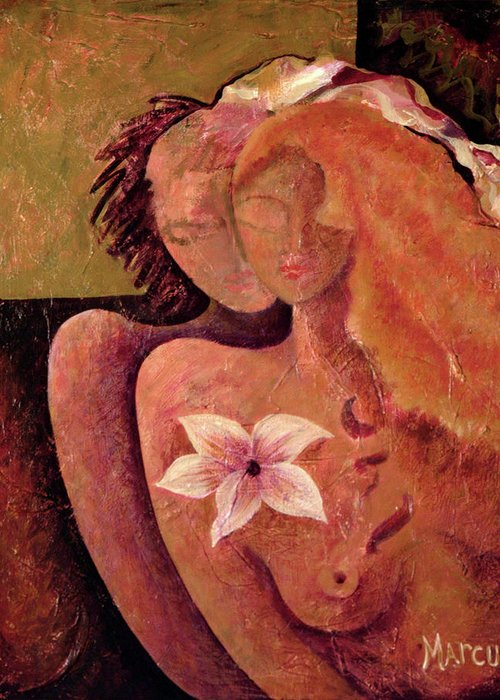 Lovers Greeting Card featuring the painting Lovers by Leslie Marcus