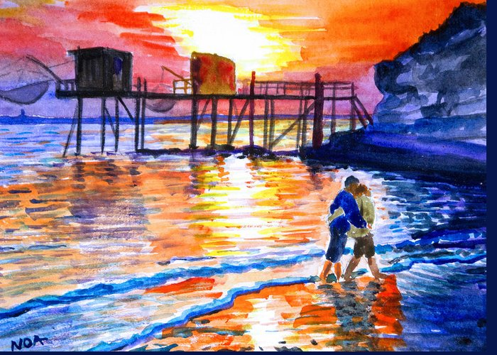 Seascape Greeting Card featuring the painting Lovers On Strand by Aymeric NOA