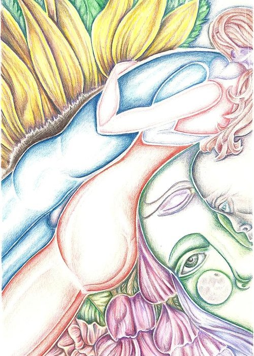 Lovers Greeting Card featuring the drawing Lovers Plus One by Karen Musick