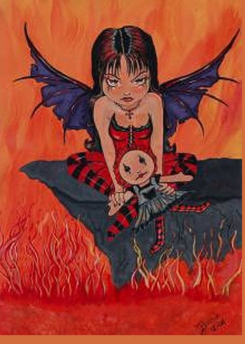 Fairy Greeting Card featuring the painting Loves Sacrifice by Bonnie Brewer