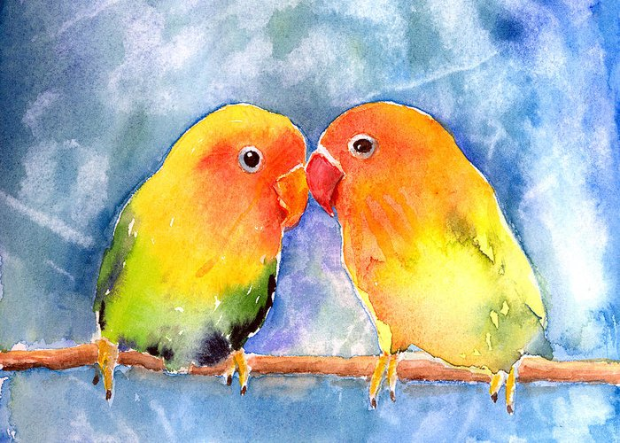 Lovebird Greeting Card featuring the painting Lovey Dovey Lovebirds by Arline Wagner