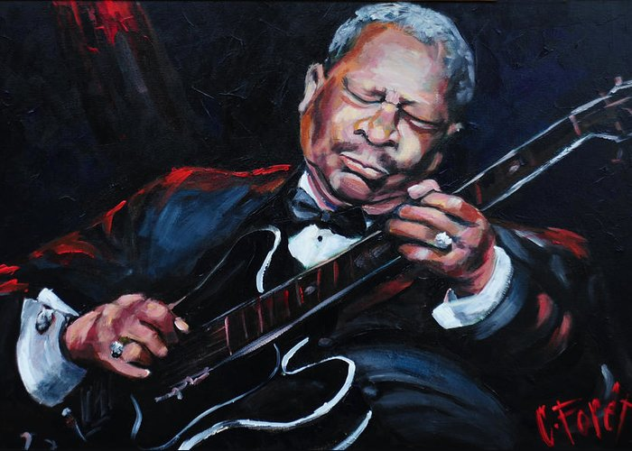 Lucille Greeting Card featuring the painting Lovin Lucille B B King by Carole Foret