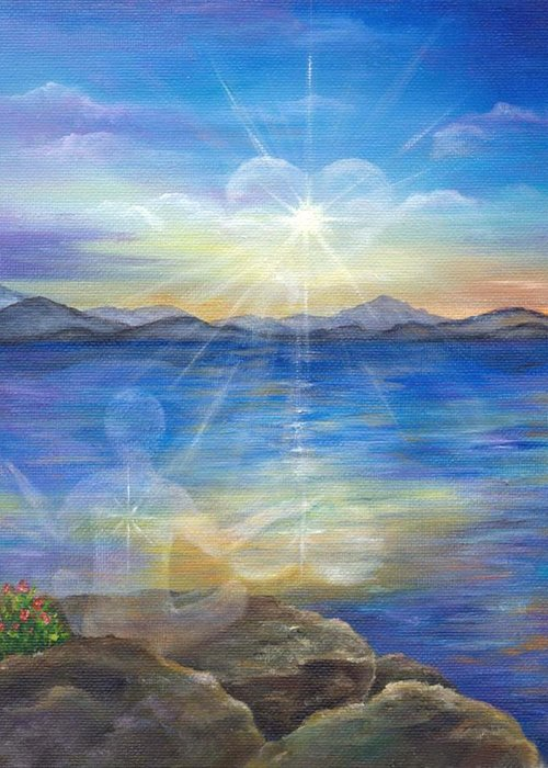 Landscape Greeting Card featuring the painting Loving Thyself by Sundara Fawn