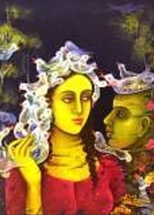 Figurative Greeting Card featuring the painting Lovingly Yours by Indu Tripathy