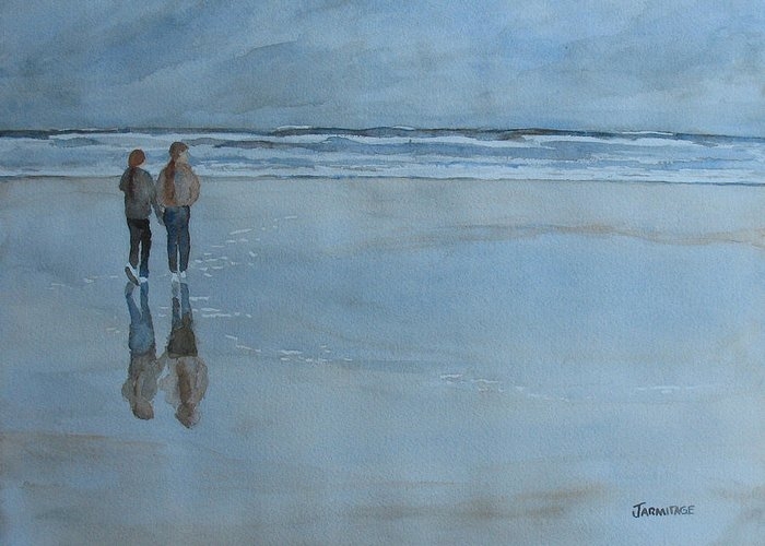 Girls Greeting Card featuring the painting Low Tide At Agate Beach by Jenny Armitage