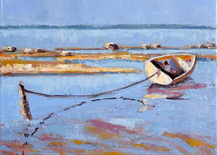 Water Greeting Card featuring the painting Low Tide Flats II by Trina Teele