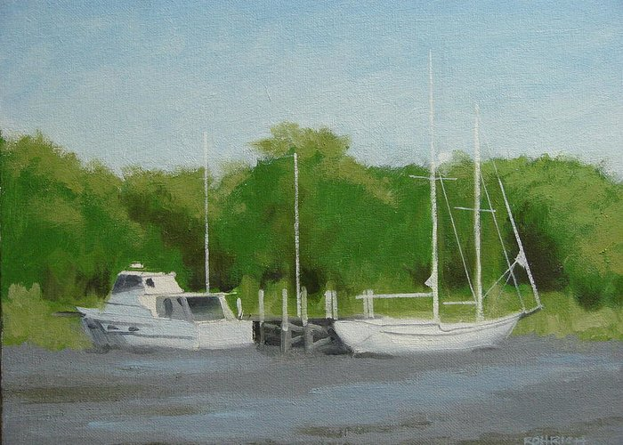 Boats Greeting Card featuring the painting Low Tide No.2 by Robert Rohrich